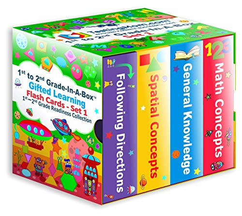 TestingMom.com 1st-2nd Grade-in-A-Box - Gifted Learning Flash Cards Bundle - Grade 1-2 Skill-Building in General Knowledge, Following Directions, Math, and Spatial Concepts (Set 1)