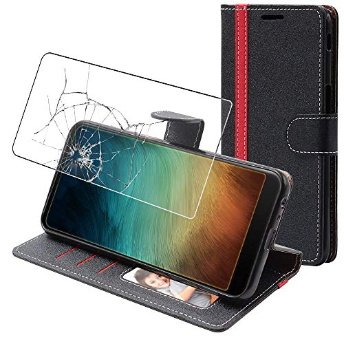 ebestStar - Funda Compatible con Xiaomi Redmi Note 10 Pro Carcasa Cartera Cuero PU, Funda Billetera Ranuras Tarjeta, Soporte, Negro/Rojo + Cristal Templado [Phone: 164 x 76.5 x 8.1 mm, 6.7'']
