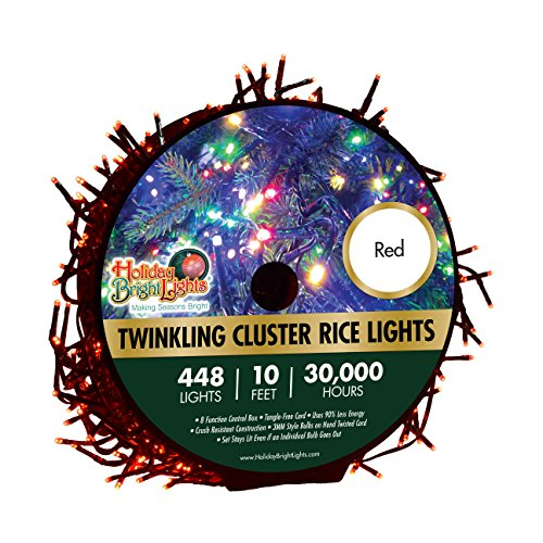 Christmas Lights 448 LED Lights Twinkling Cluster Rice Reel - Red