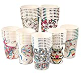 Art Kups [50 Pack - 8 oz] Compostable Paper Cups | Disposable Paper Coffee Cups | Water Paper Cups, Hot Cocoa, Cold Beverage | Rolled Rims, Recyclable | Juice Paper Cups | Perfect for Home & Office