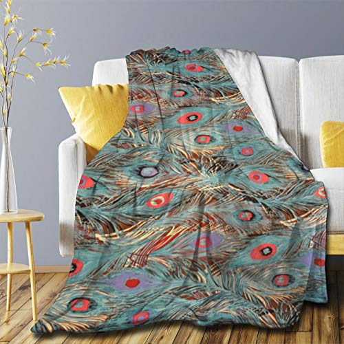 ZHONGKUI Peacock Feather Throw Blanket Flannel Fleece Blankets Soft Lightweight Cozy Warm Blankets Decor Perfect for Sofa Couch Bed Room - Small 50x40in for Kid