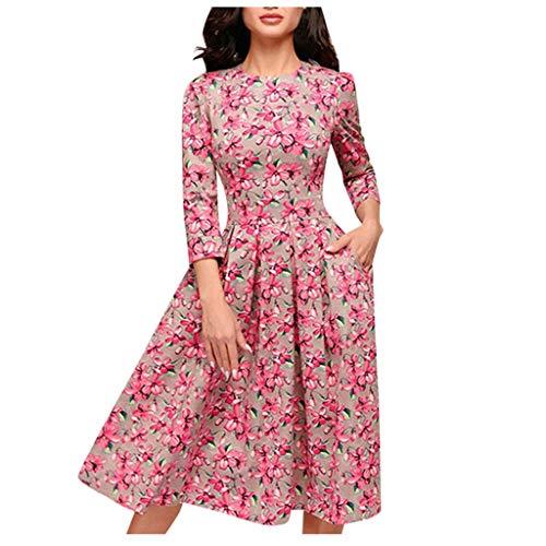 NPRADLA Sommer Kleider Damen A Line Elegante Wave Point Taschenschärpe Knielanges Spleiß Freizeitkleid