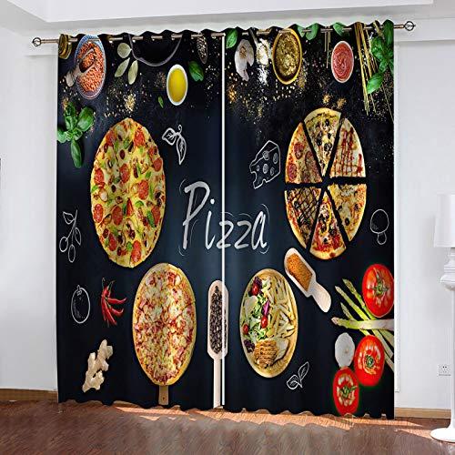 LUOWAN fliegengitter Vorhang Pizza-Burger im westlichen Restaurant Verdunklungsvorhänge 2er Set Vorhang Blickdicht Gardine Schlafzimmer Gardinen, Vorhänge, Verdunklungsgardinen mit Ösen