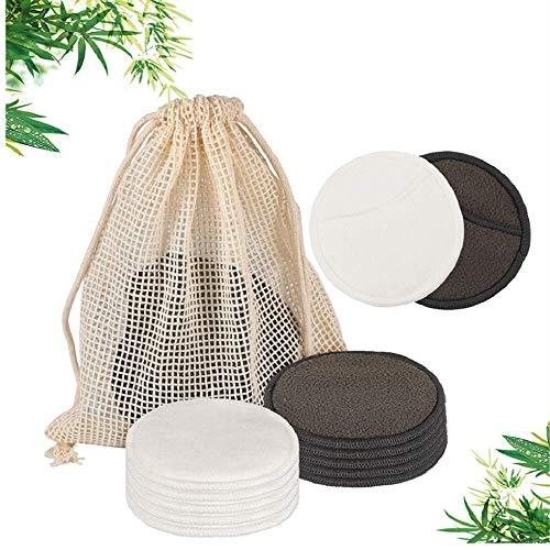 Abschminkpads Wiederverwendbar,10 Stück Waschbare Wattepads, Baumwolle Bambus Umweltfreundlich Weich Wäschenetz Gesichtsreinigung Pads
