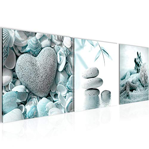 Bilder Feng Shui Steine 3 Teilig Bild auf Vlies Leinwand Deko Wohnzimmer 90 x 30 cm Strand Türkis Grau 501634b