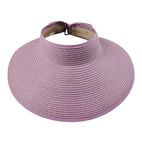 LOPILY Sombrero de Sol Visera Sombrero de ala Ancha Casquillo al Aire Libre Elegante Sombrero de Playa Verano Plegable Sombrero de Camping(Púrpura)