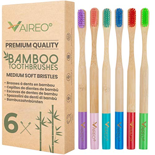 Vaireo Bamboo Eco Friendly Wooden Soft Toothbrushes – Wood Handle Vegan Compostable Biodegradable Non Plastic Bristles Recyclable Sustainable Organic Natural Tooth Brush (Adult Colorful 6 Pack)