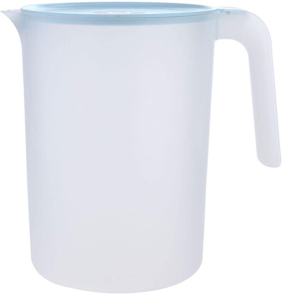 Cabilock - Jarra de plástico con tapa de escalera 2, jarra de agua caliente y fría de 5 litros y jarra de té helado (azul)