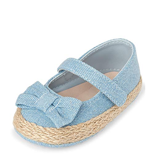 The Children's Place Baby Girls Espadrille Wedge Sandal, Denim, 0 3 Months Infant