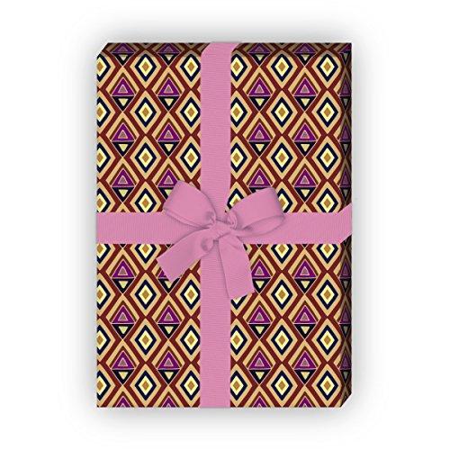 Kartenkaufrausch Batik geschenkpapier set 4 vellen, decoratief papier met geschilderde ruiten, bruin, voor leuke geschenkverpakking, patroonpapier om te knutselen 32 x 48 cm