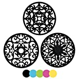 EANE IPHOX 3 Set Silicone Tapis à Dessous de Tapis Intressement Sculpté Multi-Usage - sous-Verres Durables Non Slip Isolés (Black-TY)