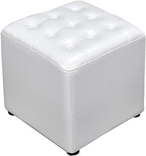 POLSTERHOCKER silber-weiß DIAMOND LOOK HOCKER SITZPUFF Fußbank LEDERLOOK WHITE