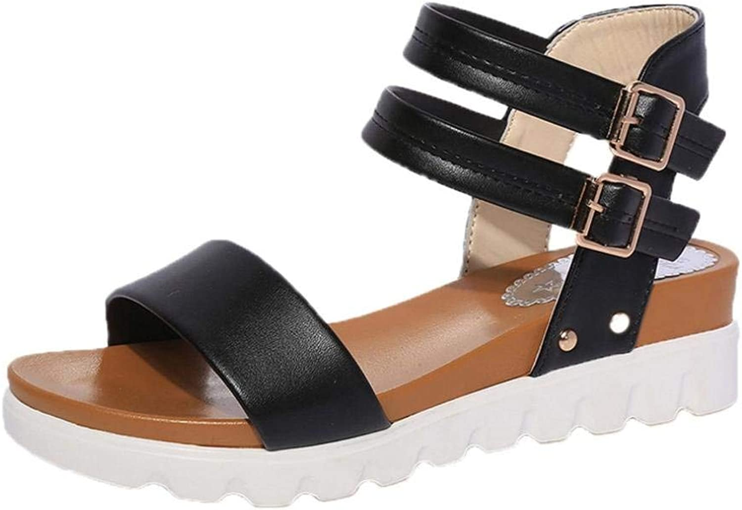 GouuoHi Womens Sandals Women Fashion Black White Sandals Summer Boom shoes Wedges Weave Middle Heel Sandals Cosy Leisure Wild Casual Quality Super Elegant for Womens