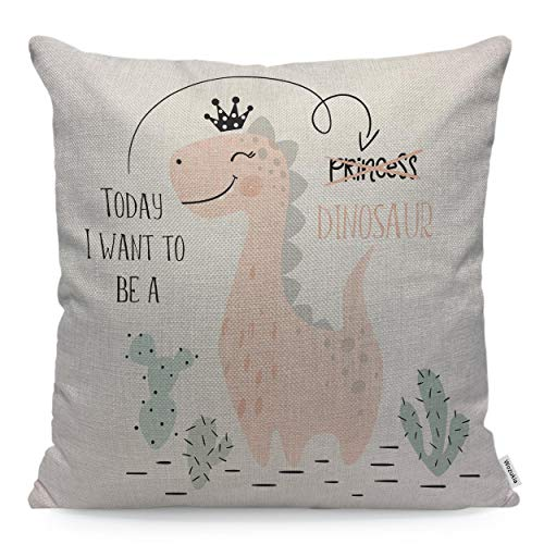 Wozukia Dinosaur Baby Girl Throw Pillow Case Cushion Cover Sweet Dino Princess with Crown Cool Brachiosaurus for Simple Scandinavian Style Cotton Linen for Couch Bed Sofa Car 24x24 inch
