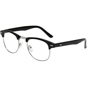 Amazon.com: Shiratori New Vintage Fashion Half Frame Semi-Rimless Clear  Lens Glasses Black: Clothing