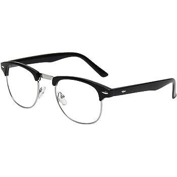 Amazon.com: Shiratori New Vintage Fashion Half Frame Semi-Rimless Clear  Lens Glasses Black: Clothing