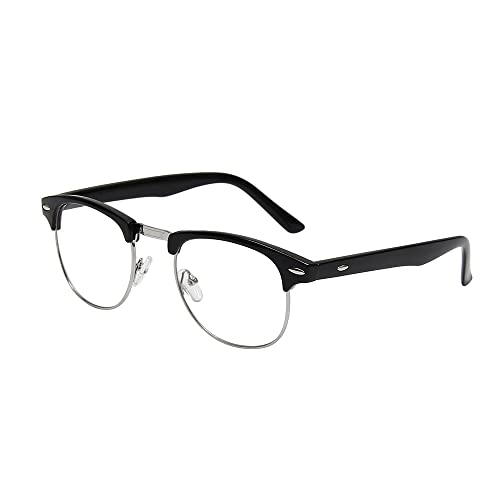 cb83f805e7 Shiratori New Vintage Classic Half Frame Semi-Rimless Clear Lens Glasses …
