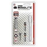 Mag-Lite SP32106 Mini AAA - Linterna LED de bolsillo de alta potencia (84 lúmenes, 12,5 cm, incluye 2 pilas AAA y clip para enganchar al bolsillo), color plateado