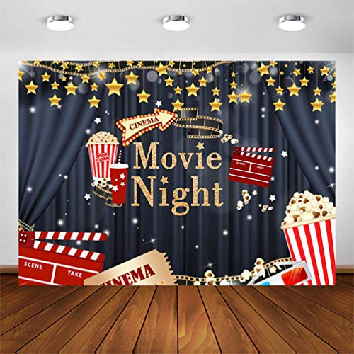 Avezano Cinema Movie Night Backdrop 7x5ft Drive in Movie Night Theme Birthday Party Photography Background Hollywood Movie Night Dress-up Awards Parties Decorations Photoshoot Backdrops