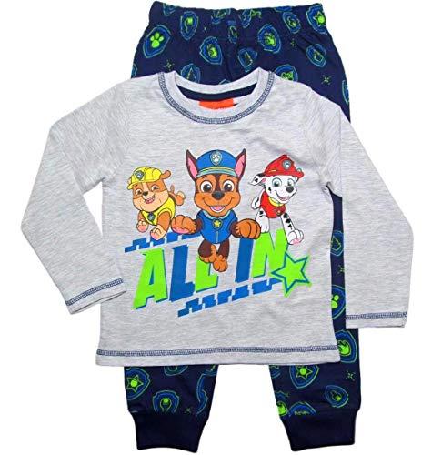 PAW PATROL Schlafanzug Jungen Pyjama Schlafanzug Lang (Grau-Blau, 104-110)