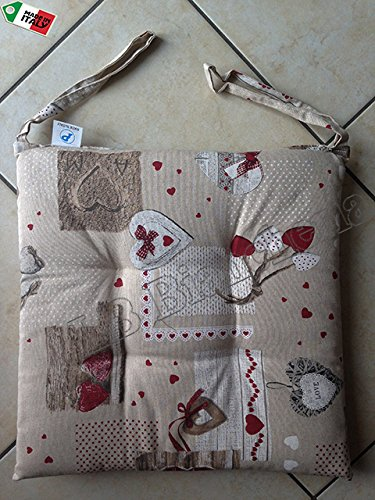 R.P. Cuscino Sedia con Lacci Miros Holly Tirolese Country Chic cm 40x40 - Made in Italy