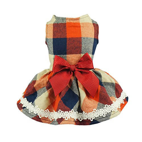 Fitwarm Christmas Elegant Lace Plaid Dog Dress for Pet Clothes Shirts Apparel, Small