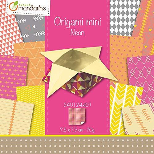 Avenue Mandarine OR501O - Une pochette Origami Mini 240 feuilles 7,5x7,5 cm 70g (24 motifs x 10 feuilles), Néon