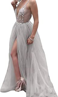 b3e5163b9144 Prom Dress Long Formal Evening Gown with Split Beading Prom Gowns Backless Evening  Dresses