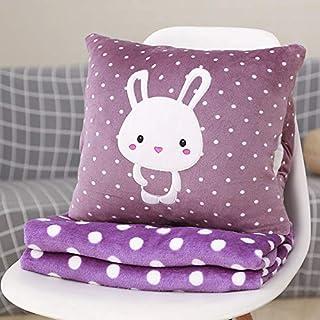 YYBF Almohada de Dibujos Animados Almohada de Siesta Almohada Aire Acondicionado Colcha de Dos usos Manta de cojín Multifuncional Bunny Púrpura