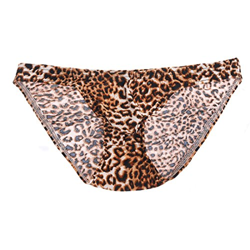 "MSemis Sexy Men Leopard Print Animal Bulge Pouch Bikini Briefs Thong Panties Low Rise Underwear Underpants Leopard Print X-Large (Waist 29.0''-42.5"")"