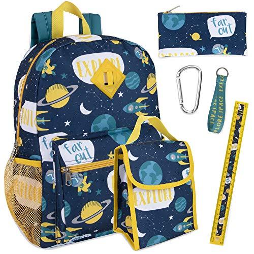 Trail maker de 6 en 1 Mochila Set con Bolsa de Almuerzo, Caja de lápices, un Llavero, un Clip Boy (Espacio)