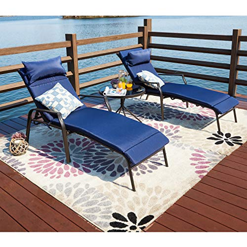 LOKATSE HOME 3 Pieces Outdoor Patio Chaise Lounge Chair Lounger Seating Furniture Set with Cushions and Table, Navy Blue