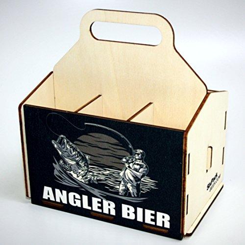 Bierträger aus Holz - SixPack - Fischen - Geschenke für Männer - Grillen - Jagen (Angler Bier)