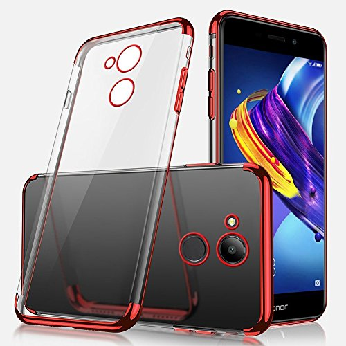 Coque Huawei V9 Play,Etui Huawei V9 Play Silicone Gel Transaparent + Métal Coque Bling Giltter Brillant Coque Liquid Crystal Ultra Mince Hybrid Premium TPU Souple Housse Etui Huawei V9 Play,Rouge