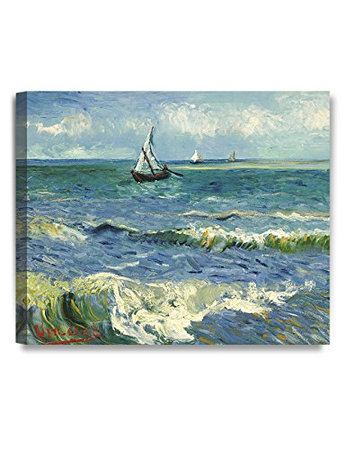 DECORARTS - The Sea at Les Saintes-Maries-de-la-Mer by Vincent Van Gogh. Oil Painting Reproduction. Giclee Print on Canvas. Ready to Hang Wall Art for Home and Office Decor. 24x20