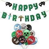 INTVN Articoli per Feste per Videogiochi Happy Birthday Striscioni di Gioco, 24PCS Palloncini per Videogiochi Palloncini Compleanno da 12 Pollici per bomboniere da minatore, 12 Modelli Diversi
