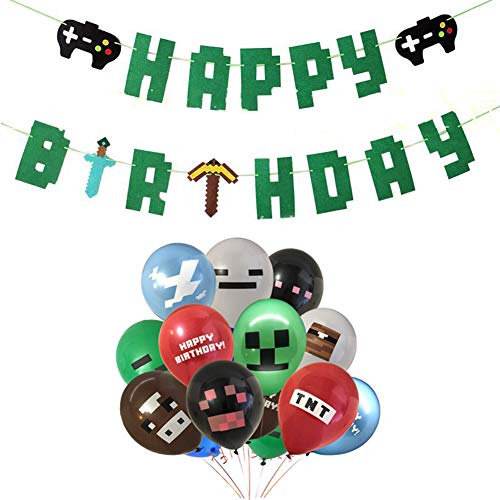 INTVN Video Game Partyzubehör - Video Game Party Luftballons Geburtstag Banner Ammer Girlande für Miner Gamer Party Favors Jungen Kinder Spieler Geeks Gaming Thema Party Dekorationen Gebaut