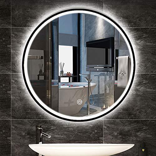 L&ED Espejo de Pared Grande, Espejo de baño LED Iluminado, Marco de aleación de Aluminio, Espejo de tocador con botón táctil, luz Blanca 6000k (Negro/Dorado)