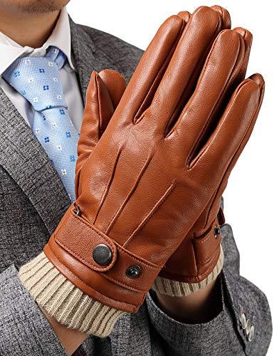 手袋 レザーグローブ メンズ 本革 羊革 スマホ対応 お洒落 男性 防寒 裏起毛 全て内縫い 保温性抜群 ギフト プレゼント 皮手袋 バイカーグローブ カーキ