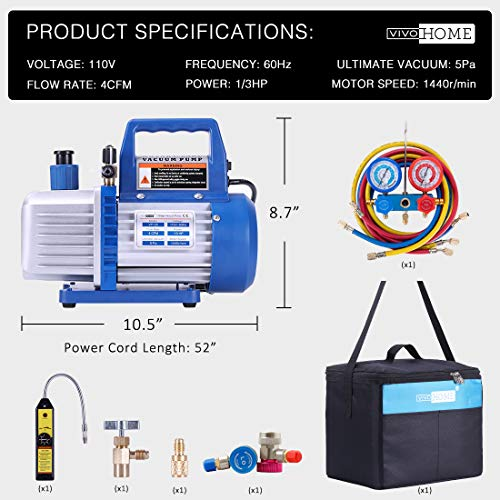 VIVOHOME 110V 1/3 HP 4CFM Single Stage Rotary Vane Air Vacuum Pump and R134a AC Manifold Gauge Set Kit with Leak Detector Carry Bag for HVAC Air Conditioning Refrigeration Recharging ETL Listed