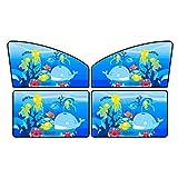FAPROL Parasol Coche para El Parabrisas Visera De La Ventana Coche del Bebé Instalación del Imán Sombrilla Automotriz Plegable, Bloque UV 4 Piezas Set Patrones De Dibujos Animados A