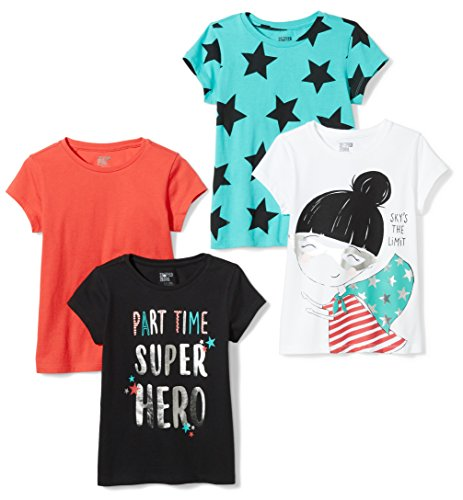 Spotted Zebra Girls' Toddler Short-Sleeve T-Shirts, 4-Pack Super, 3T