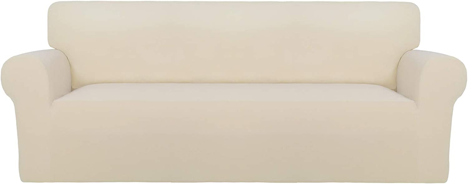 PureFit Super Stretch Sofa Slipcover – Spandex Non Slip Soft Couch Sofa Cover, Washable Furniture Protector with Non Skid Foam and Elastic Bottom for Kids, Pets (Sofa, Beige)
