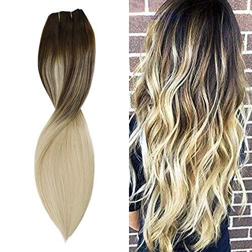 Sunny 18 Pouces Remy Extension Clip Cheveux Humain Naturel Brun Fonce #4 Ombre Blonde #613 100% Vrai Cheveux Clip Naturel 7pcs/120g Clip Extensions Human Hair Full Head