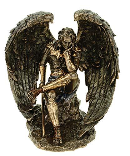 Fallen Engel Lucifer mit Schwert Bronze Skulptur Satan Teufel