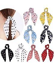 8 piezas de gomas para el cabello con lazo para el cabello con lazo floral con banda para el cabello y accesorios para el cabello con cola de caballo elástica para mujeres niñas