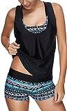 EUDOLAH Bañador Mujer 3 Piezas Top Deportivo Negro Yoga Fitness Chaleco Pantalones Cortos con Estampado Calico Una Turquesa-F,XL