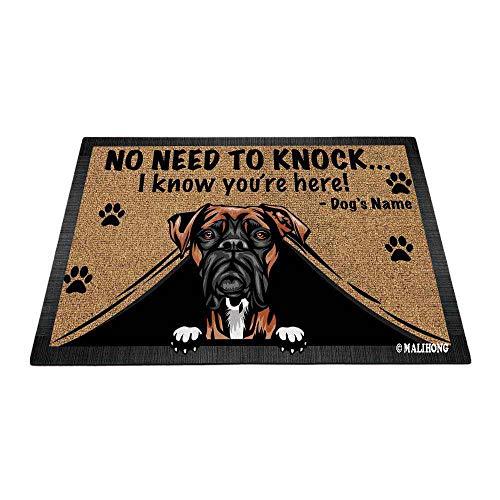 BAGEYOU Felpudo personalizado para amantes de perros, bóxer de perro sin necesidad de golpear I Konw You're Here 35,4 x 23,6 ⭐