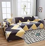 Funda Sofas 2 y 3 Plazas Curva Gris Amarillo Fundas para Sofa Universal,Cubre Sofa Ajustables,Fundas Sofa Elasticas,Funda de Sofa Chaise Longue,Protector Cubierta para Sofá