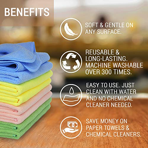 """Premium Microfiber Cleaning Cloth By VibraWipe, 8-Pack, Large Size 14.2""""x14.2"""", Super Soft, Use As Kitchen Rag Or Car Detailing, Trap Dust, Dirt and Pet Dander. Absorbent, Machine Washable and Lint-Free"""